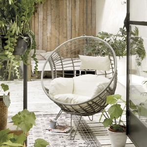 Pale Grey Indoor Outdoor Hanging Chair - garden furniture