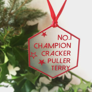 Number One Cracker Puller Tree Decoration - tree decorations