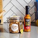 Pork Crackling Jar And Hot Sauce Gift Pack