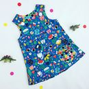 Girls Bright Flowers Pinafore Dress