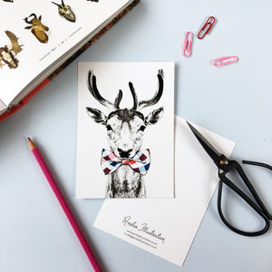 Deer In A Bow Tie A6 Postcard