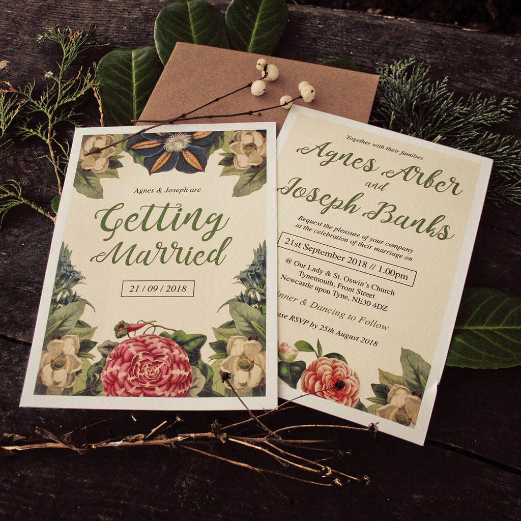Botanical Floral Themed Wedding Invitations By Magik