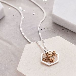 Honeycomb And Bee Necklace - necklaces & pendants