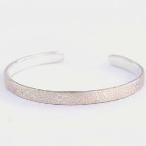Silver, Copper And Shibuichi Mokume Gane Bangle - women's jewellery