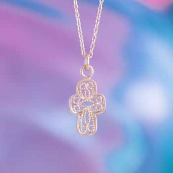 Lace Cross Charm Pendant In Gold Or Silver