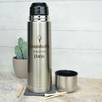 Personalised Stainless Steel Golfing Flask