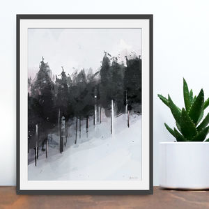 'Winter Trees' Abstract Scenic Art Print