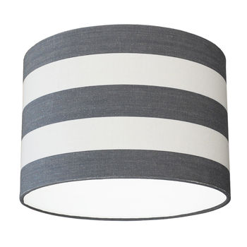 Grey And White Deckchair Stripe Lampshade