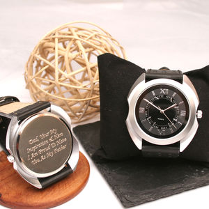 Personalised Wrist Watch Silver Chunky Modern Design