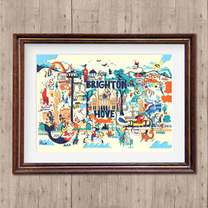 'Brighton Map', Brighton Print, Limited Edition Print - pictures & prints for children