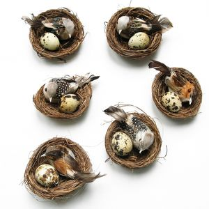 Set Of Six Natural Decorative Birds In Nests