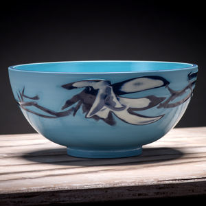 Handmade Turquoise Ceramic Bowl - tableware