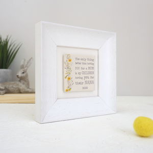 Personalised Floral Gift For Nana Ceramic Tile Frame
