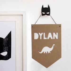 Personalised Dinosaur Banner Flag - gifts for children