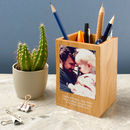 Personalised Photo Wood Pen Pot