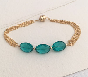 Apatite Three Stone Chained Bracelet