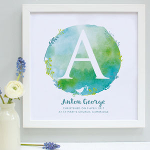 Personalised Christening Watercolour Framed Print - nursery pictures & prints