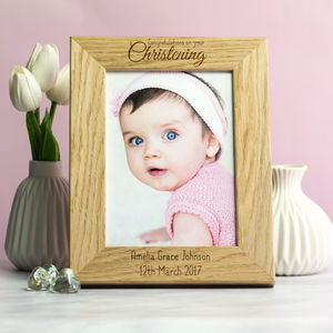 Personalised Christening Gift Oak Photo Frame - more