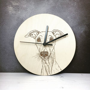 Whippet Portrait Wall Clock - children's clocks