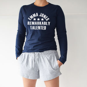 Personalised Remarkably Talented Loungewear Pyjama Set - women's fashion