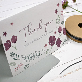 Personalised Marsala Floral Thank You Card