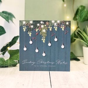 Special Friend Blue Country Christmas Botanical Card - new in christmas