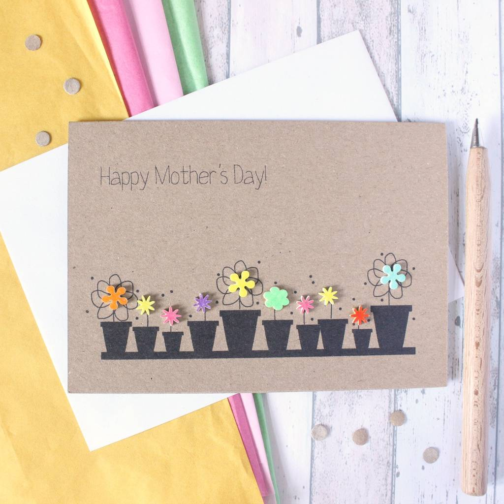 Personalised flower pots happy mothers day card by little personalised flower pots happy mothers day card kristyandbryce Image collections