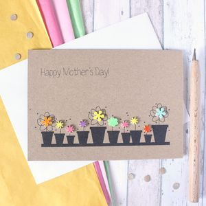 Personalised Flower Pots 'Happy Mother's Day' Card