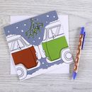 Campervan Christmas Card 'Christmas Kiss'