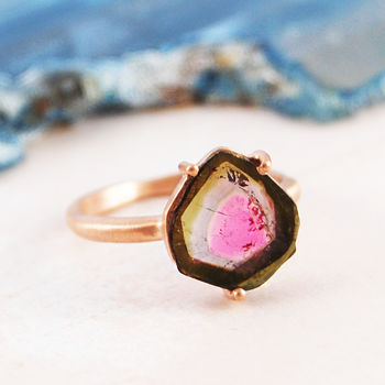 Clear Watermelon Tourmaline Rose Gold Claw Ring