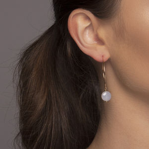 Gold Or Silver Blue Chalcedony Half Hoop Earrings - earrings