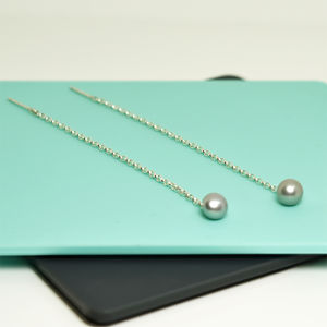 'Beautifully Simple' Long Silver Earrings With Pearl