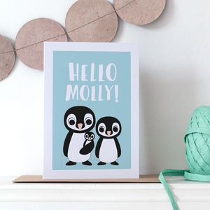 Personalised Penguin New Baby Card
