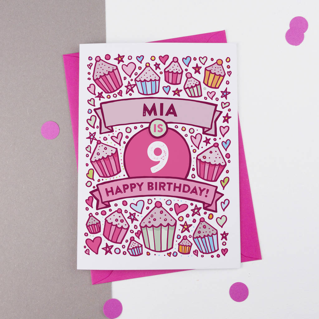 9th Birthday Card Cupcake Personalised