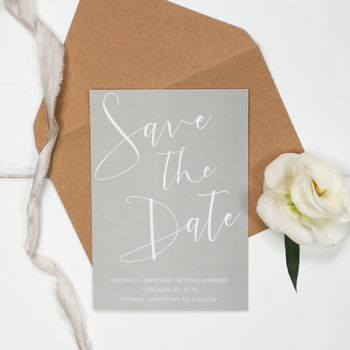 Grey Elegance Wedding Save The Date
