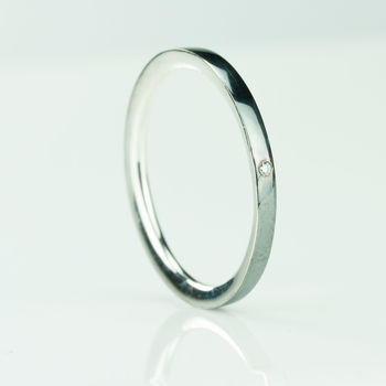 Sterling Silver Comfort Fit Diamond Ring