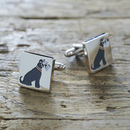 Daddy And Me Grey Schnauzer Cufflinks And Tag