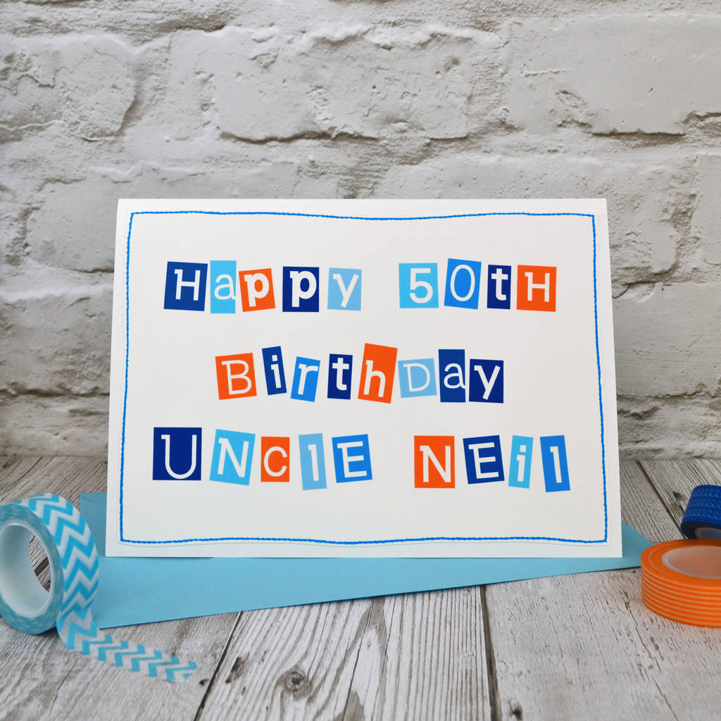 Personalised mens 50th birthday card by jenny arnott cards gifts personalised typographic 50th birthday card for men bookmarktalkfo