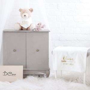 Personalised Gold Print Blanket With Bib