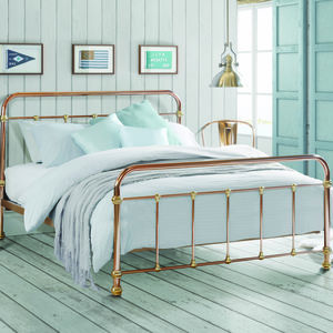 Copper And Brass Vintage Style Bed - furniture