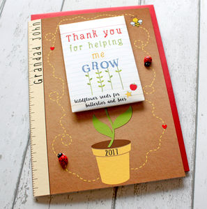 Thank You For Helping Me Grow Card And Seed Packet Gift - teacher cards