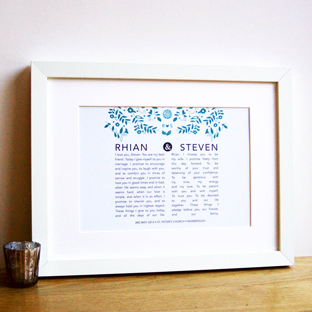 Wedding Vow Artwork: Personalised Bride And Groom Wedding Vow Print By Ant