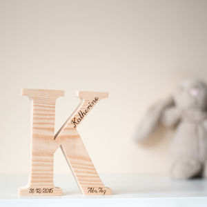 Personalised Wooden Letters - christening gifts