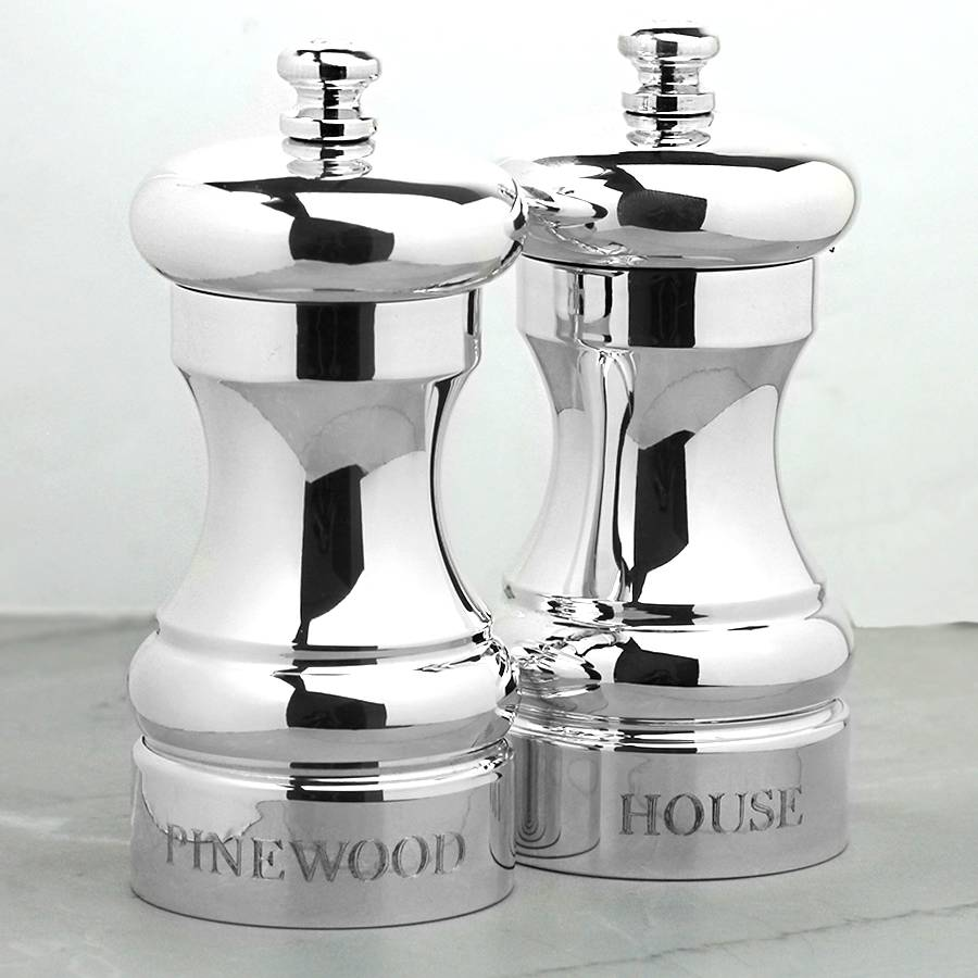Silver pepper and salt mill by hersey silversmiths Funky salt and pepper grinders
