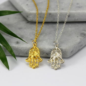 Sterling Silver And Gold Hamsa Charm Necklace