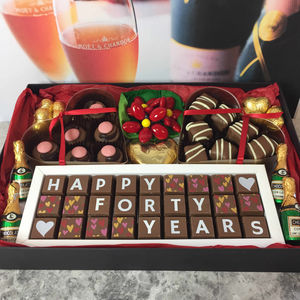 Large Personalised Chocolate Ruby Wedding Gift Box - 40th anniversary: ruby