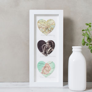 Personalised Heart Wedding Map Photo Collage Print - mixed media & collage