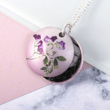 April Birth Flower Sweet Pea Photo Locket Gift Necklace