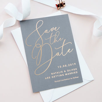 Charcoal Grey 'Natalie' Foil Save The Date Cards
