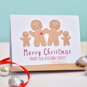 Personalised Family Gingerbread Christmas Card - cards & wrap